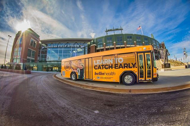 Metro Bus In Front of Lambeau Field